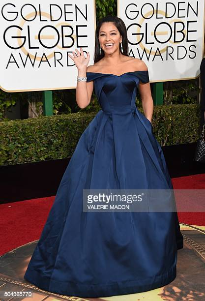 Gina Rodriguez arrives at the 73nd annual Golden Globe Awards January 10 at the Beverly Hilton Hotel in Beverly Hills California AFP PHOTO / VALERIE...