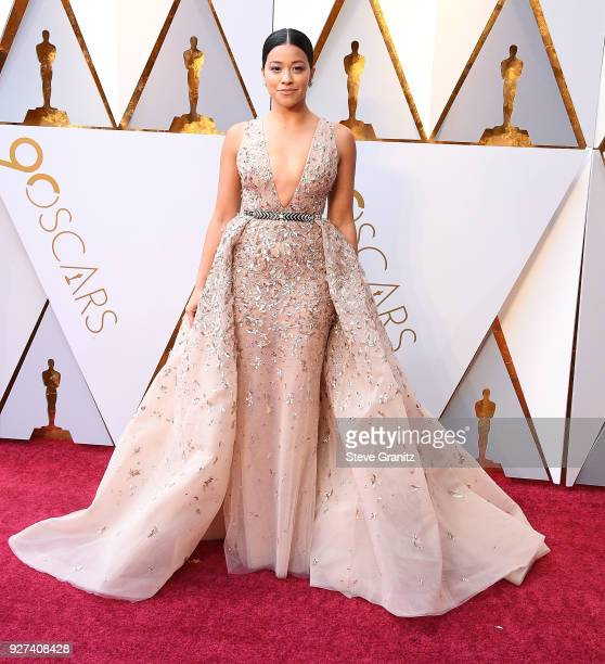 Gina Rodriguez arrives at the 90th Annual Academy Awards at Hollywood Highland Center on March 4 2018 in Hollywood California