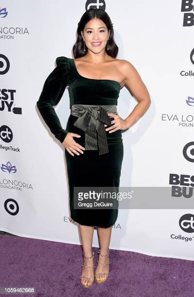 Gina Rodriguez arrives at the Eva Longoria Foundation Dinner Gala at Four Seasons Hotel Los Angeles at Beverly Hills on November 8 2018 in Los...