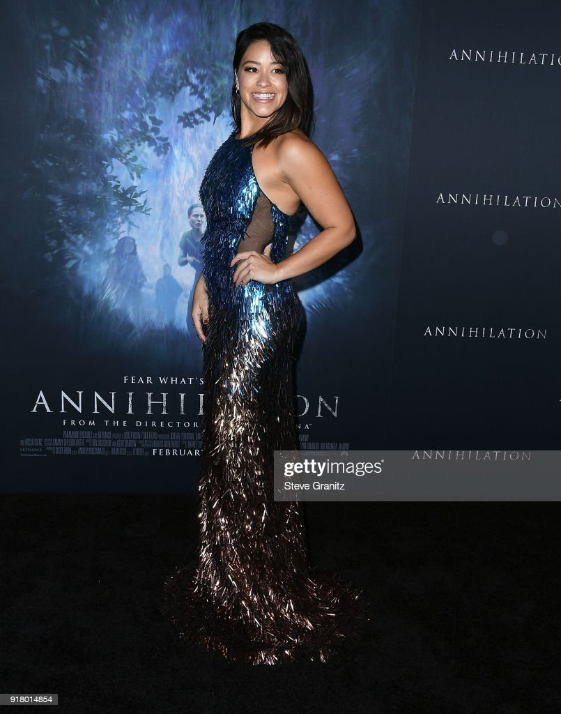 Gina Rodriguez arrives at the Premiere Of Paramount Pictures' 'Annihilation' at Regency Village Theatre on February 13, 2018 in Westwood, California.