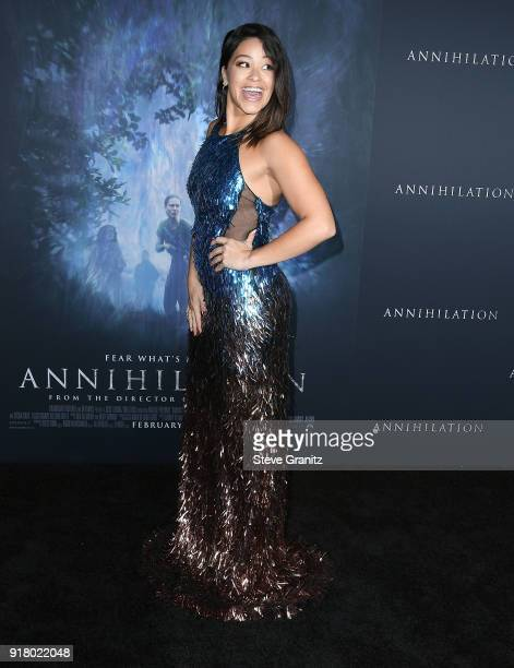 Gina Rodriguez arrives at the Premiere Of Paramount Pictures' 'Annihilation' at Regency Village Theatre on February 13 2018 in Westwood California
