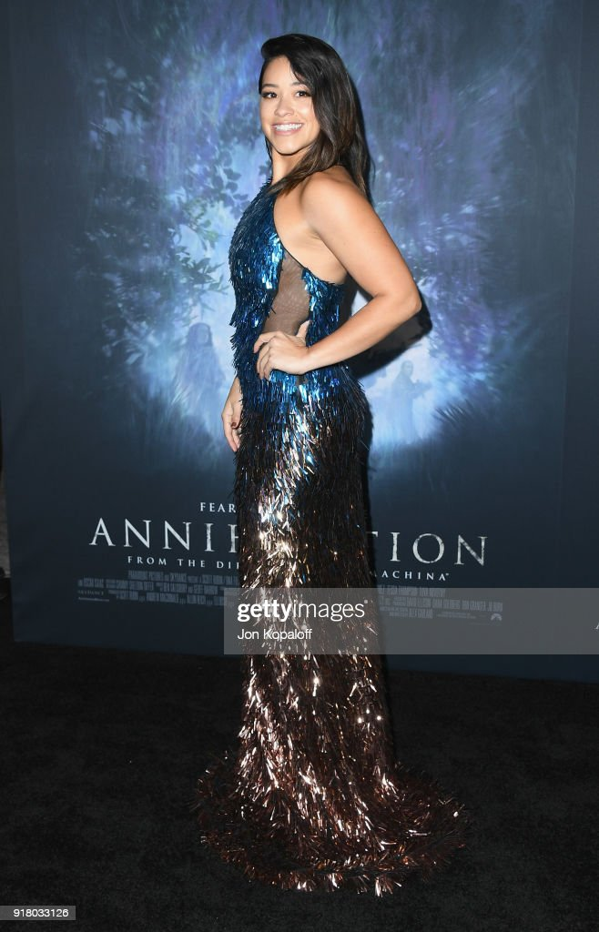 Gina Rodriguez attends the Los Angeles premiere 'Annihilation' at Regency Village Theatre on February 13, 2018 in Westwood, California.