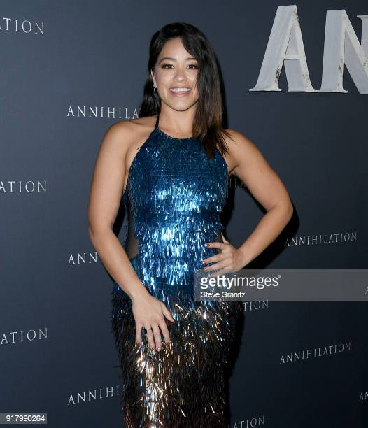 Gina Rodriguez attends the premiere of Paramount Pictures' 'Annihilation' at Regency Village Theatre on February 13 2018 in Westwood California