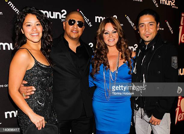 Gina Rodriguez Fernando Vargas Jenni Rivera and Chris Perez attend the premiere of mun2's 'I Love Jenni' Season 2 at My House on March 1 2012 in...
