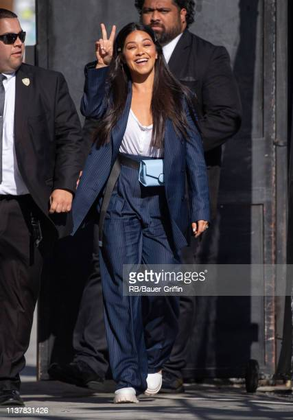 Gina Rodriguez is seen at 'Jimmy Kimmel Live' on April 17 2019 in Los Angeles California