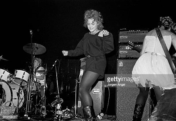Gina Schock Belinda Carlisle and Jane Wiedlin of The GoGo's perform on stage at Brondyhallen supporting The Police on January 5th 1982 in Copenhagen...
