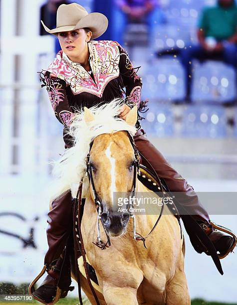 Gina Schumacher daughter of former German Formula One driver Michael Schumacher presents the elements of the reining competition on her horse Sharp...