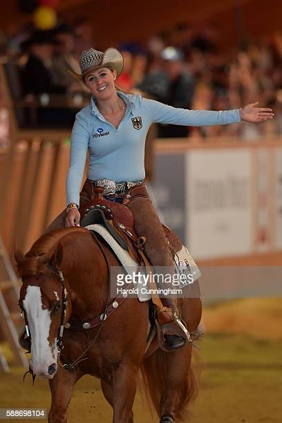Gina Schumacher of Germany rides on her horse Arc Guns M Oaks during the SVAG FEI European Championship Reining Young riders 2016 at the CS Ranch on...