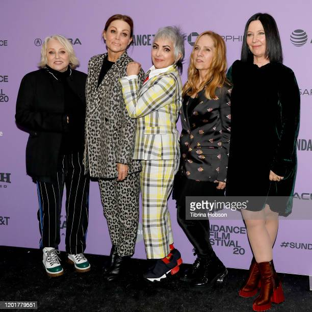 Gina Shock Belinda Carlisle Jane Wiedlin Charlotte Caffey and Kathy Valentine of The GoGos attend the The GoGos premiere during the 2020 Sundance...
