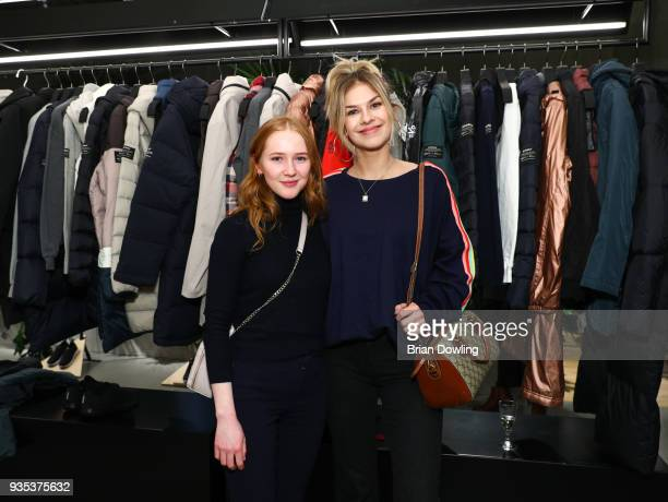 Gina Stiebitz and Zsa Zsa Inci Buerkle attend the Ecoalf Berlin store event to present the SS18 collection on March 20 2018 in Berlin Germany