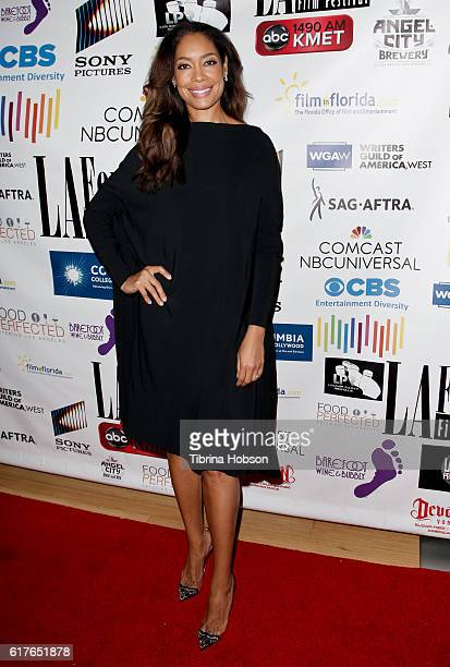 Gina Torres attends the 12th annual La Femme International Film Festival closing ceremony at The Los Angeles Theatre Center on October 23 2016 in Los...