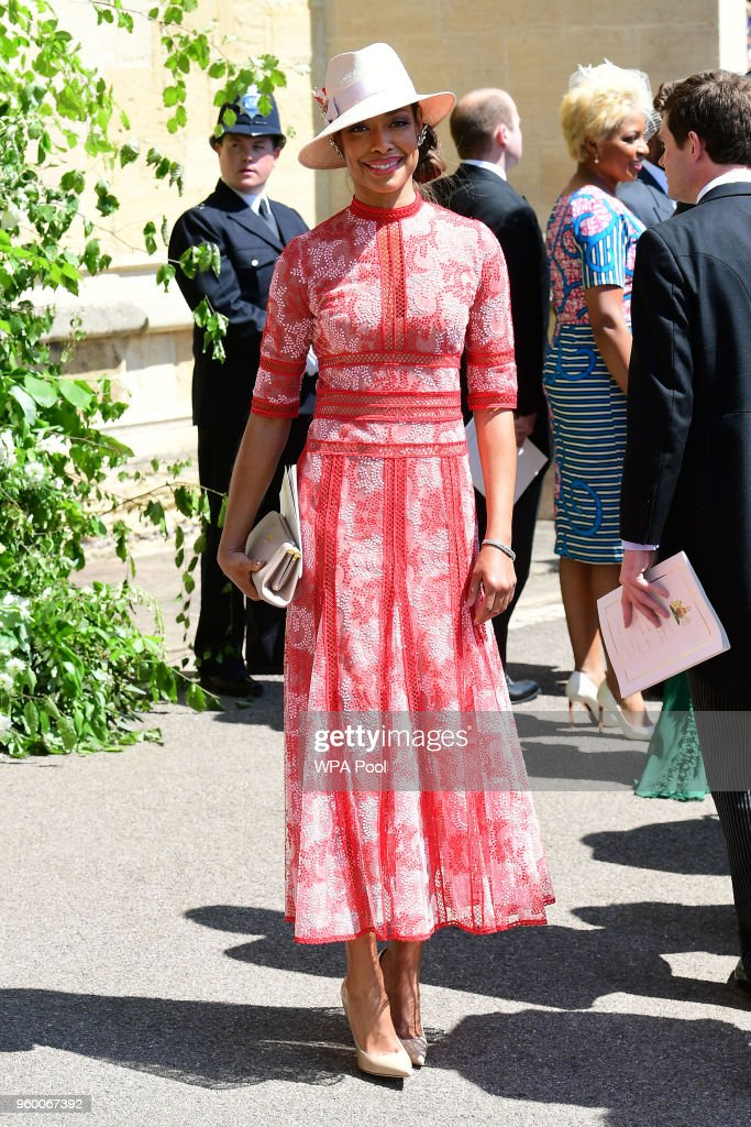 Gina Torres leaves St George's Chapel at Windsor Castle after the wedding of Meghan Markle and Prince Harry on May 19, 2018 in Windsor, England.