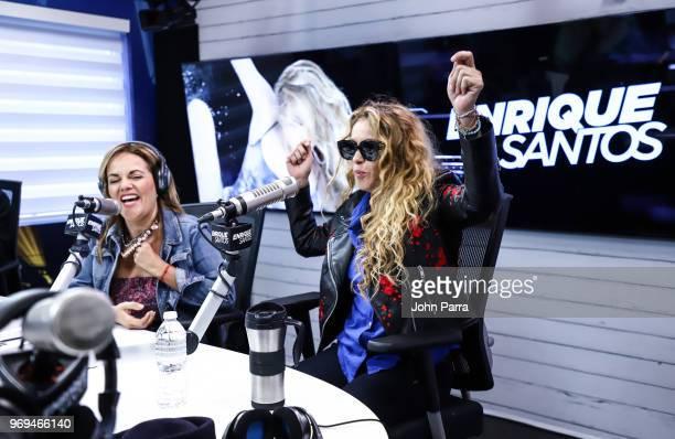 Gina Ulmos and Paulina Rubio attend the I Heart Latino Studio Enrique Santos Show on June 7 2018 in Miramar Florida