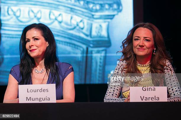 Gina Varela and Lourdes Munguia look on during the press conference of the new play 'Hijas de su Madre' at Venustiano Carranza Theater on December 06...