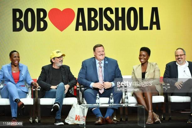 Gina Yashere Chuck Lorre Billy Gardell Folake Olowofoyeku and Al Higgins of Bob Hearts Abishola speak during the CBS segment of the 2019 Summer TCA...