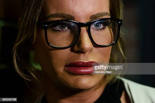 Gina-Lisa Lohfink arrives for a court trial on August 22, 2016 in Berlin, Germany. The 29-year-old model was ordered to pay a 24,000 EUR fine in...