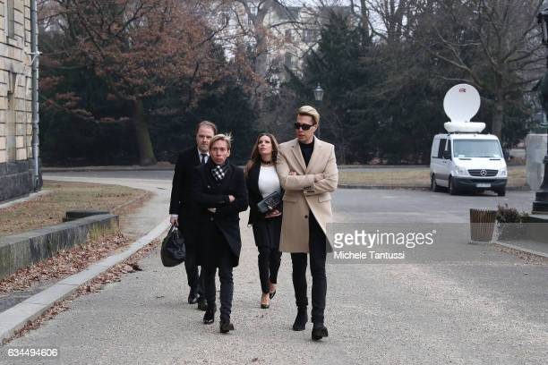 GinaLisa Lohfink arrives with her lawyer Burkhard Benecken and Florian Wessat the Tiergarten regional court on February 10 2017 in Berlin Germany The...