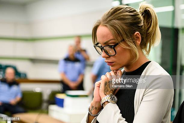 Gina-Lisa Lohfink attends a court trial on August 22, 2016 in Berlin, Germany. The 29-year-old model was ordered to pay a 24,000 EUR fine in January...