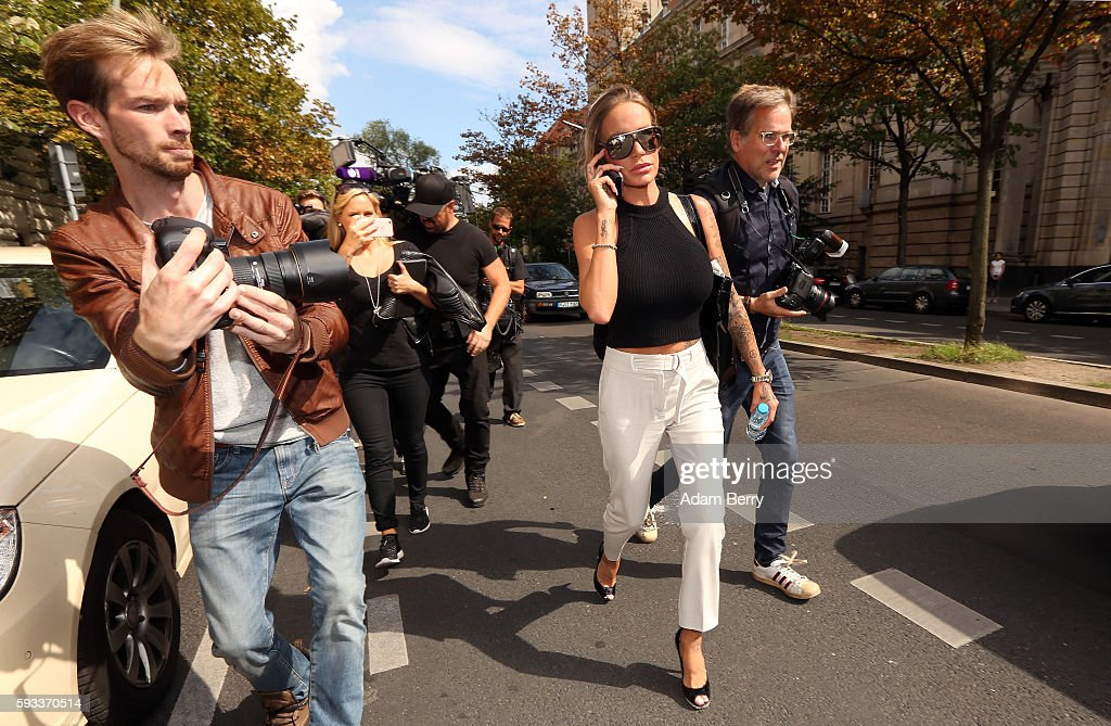 Gina-Lisa Lohfink leaves a courthouse on August 22, 2016 in Berlin, Germany. The 29-year-old model was ordered to pay a 24,000 EUR fine in January 2016, when the Amtsgericht Tiergarten court in Berlin ruled that she had falsely accused two men of raping her, after a video of a sexual encounter with them surfaced on the Internet in 2012. Lohfink appealed the decision.