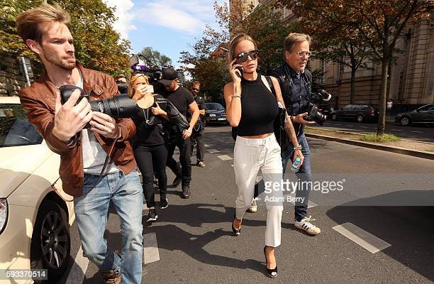Gina-Lisa Lohfink leaves a courthouse on August 22, 2016 in Berlin, Germany. The 29-year-old model was ordered to pay a 24,000 EUR fine in January...