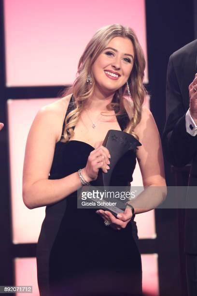 GinaMaria Schumacher daughter of Michael Schumacher receives her award during the Audi Generation Award 2017 at Hotel Bayerischer Hof on December 13...