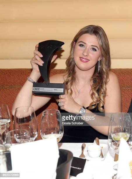 GinaMaria Schumacher daughter of of Michael Schumacher with award and her boyfriend during the Audi Generation Award 2017 at Hotel Bayerischer Hof on...