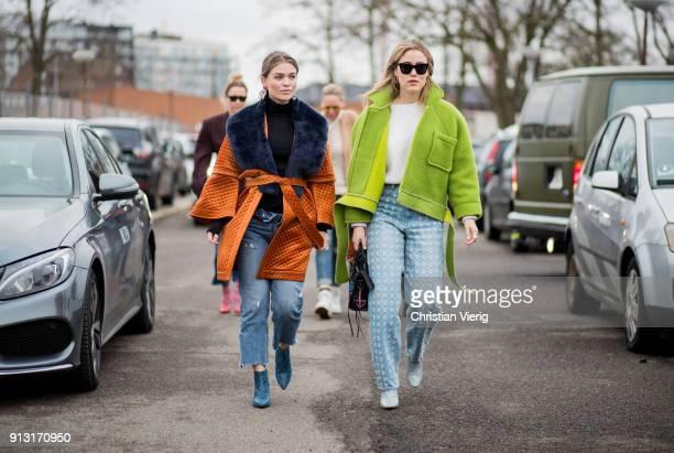Gine Margrethe and Annabel Rosendahl wearing green jacket outside Munthe during the Copenhagen Fashion Week Autumn/Winter 18 on February 1 2018 in...