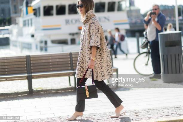 Gine Margrethe wearing a jacket outside Whyred on August 30 2017 in Stockholm Sweden