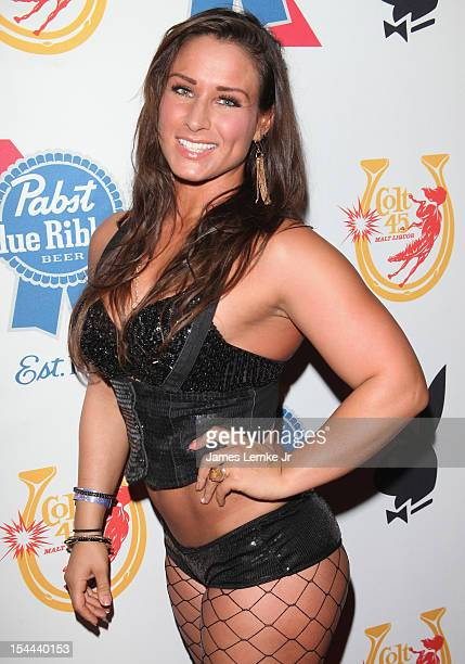 Ginele Marquez attends Snoop Dogg Presents Colt 45 Works Every Time mansion party with Evan and Daren Metropoulos at The Playboy Mansion on October...