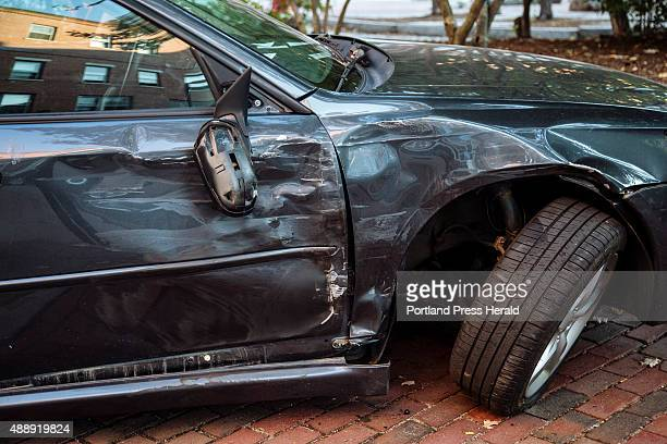 Ginette Labonville's Subaru sedan was pushed onto the sidewalk by a hitandrun driver in Portland ME on Thursday September 17 2015