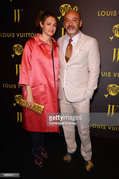 Ginevra Elkann and designer Christian Louboutin attend The Bling Ring Party hosted by Louis Vuitton during the 66th Annual Cannes Film Festival at...