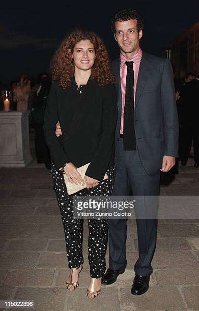 Ginevra Elkann and Giovanni Gaetani dell'Aquila d'Aragona attend the 'Il Mondo Vi Appartiene' dinner at Fondazione Cini on June 1, 2011 in Venice,...