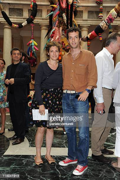 Ginevra Elkann and Giovanni Gaetani dell'Aquila d'Aragona attend the 'Il Mondo Vi Appartiene' Exhibition Opening during the 54th International Art...