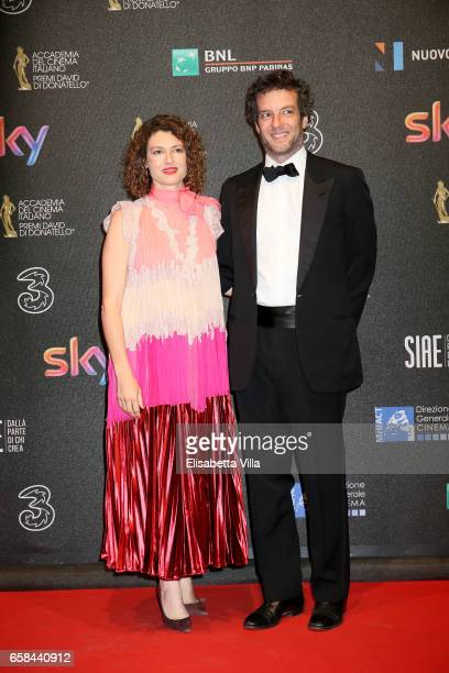 Ginevra Elkann and Giovanni Gaetani dell'Aquila d'Aragona walk the red carpet of the 61. David Di Donatello on March 27, 2017 in Rome, Italy.