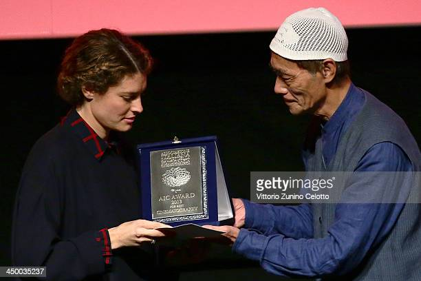 Ginevra Elkann receives the awards for Farfalla d'oro Prize Agiscuola and the AIC Prize for Best Cinematography for 'Dallas Buyers Club' on behalf of...