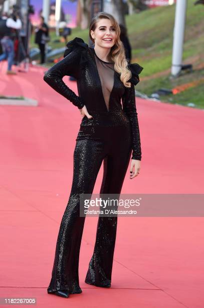 Ginevra Lambruschi walks a red carpet during the 14th Rome Film Festival on October 19 2019 in Rome Italy