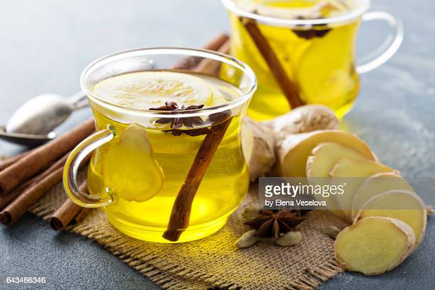 ginger and lemon drink - hot tea stock pictures, royalty-free photos & images