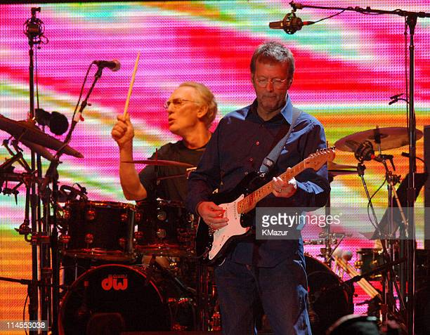 Ginger Baker and Eric Clapton of Cream during Cream in Concert at Madison Square Garden in New York City October 24 2005 at Madison Square Garden in...