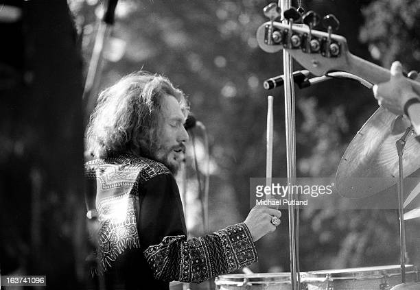 Ginger Baker of English supergroup Blind Faith performing on stage in Hyde Park, London, 7th June 1969.