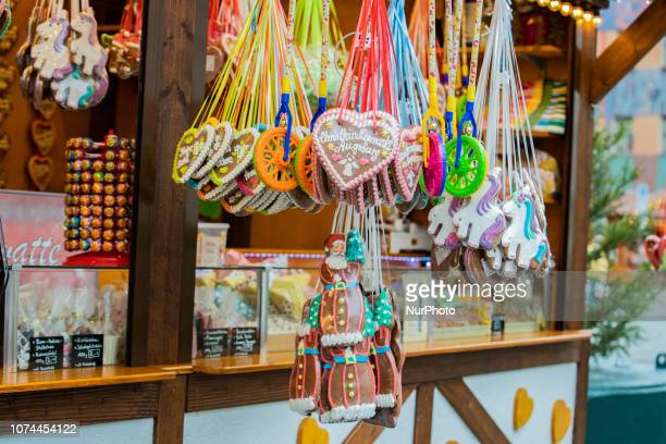 Ginger bread hearts with the caption Christkindlesmarkt Augsburg Christmas Market Augsburg and some ginger bread Santa Claus Christmas Market in the...