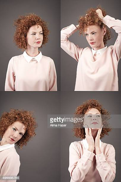 ginger girl posing in a photo booth