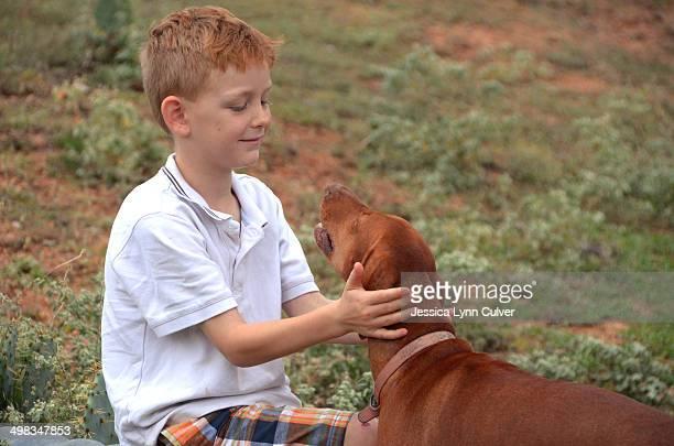 ginger haired boy hugging his vizsla - ginger lynn ストックフォトと画像