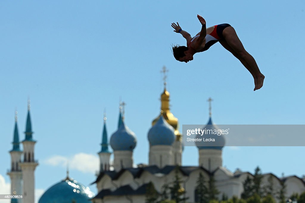 Ginger Huber of the United States competes in the Women's 20m High Diving Final on day eleven of the 16th FINA World Championships at the Kazanka River on August 4, 2015 in Kazan, Russia.