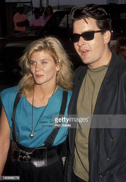 Ginger Lynn Allen and Charlie Sheen attend Second Annual Reid Rondell Stunt Foundation Party on October 6, 1990 at Saugas Speedway in Saugas,...