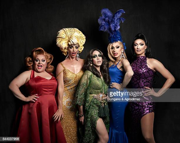 Ginger Minj Alyssa Edwards Phi Phi O'Hara Alaska Thunderfuck and Tatiana pose for a portrait at Logo's 'Trailblazer Honors' on June 23 in the...