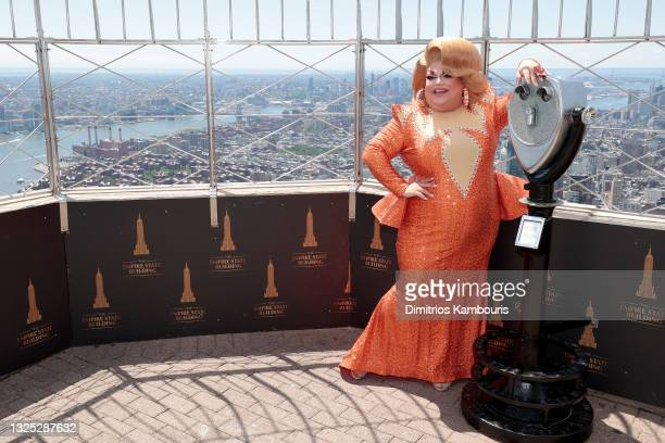 """Ginger Minj attends as Empire State Building hosts the cast of """"RuPaul's Drag Race All Stars"""" Season 6 on June 24, 2021 in New York City."""