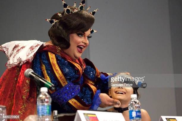 Ginger Minj gives Lactatia makeover during RuPaul's DragCon NYC 2017 at The Jacob K Javits Convention Center on September 9 2017 in New York City