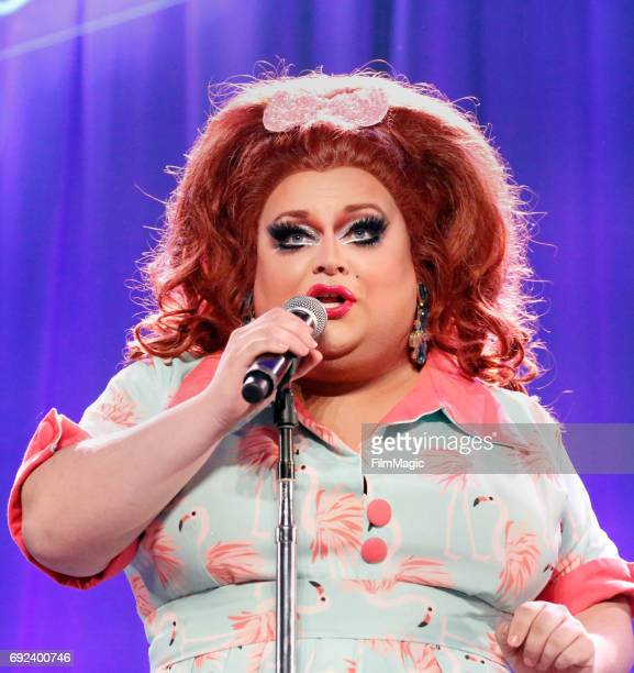 Ginger Minj performs onstage at the Larkin Comedy Club during Colossal Clusterfest at Civic Center Plaza and The Bill Graham Civic Auditorium on June...