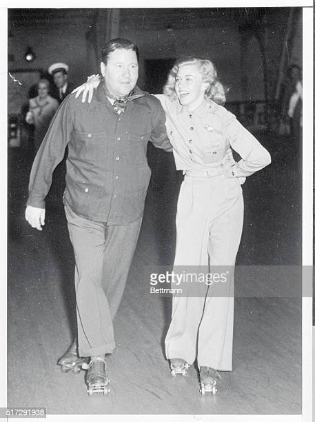 Ginger Rogers and Alfred Gwynne Vanderbilt staged a roller skating party at the Rollerdome in Los Angeles recently playing hosts to 500 guests Photo...