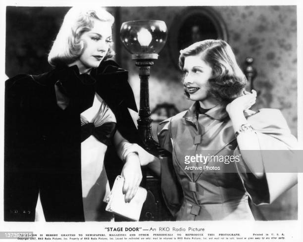 Ginger Rogers is grabbed by Lucille Ball in a scene from the film 'Stage Door' 1937